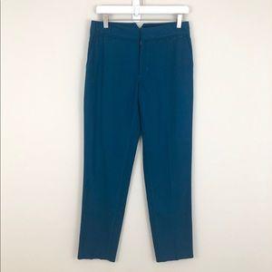 Chris Benz 100% Silk Teal Slim Ankle Pants
